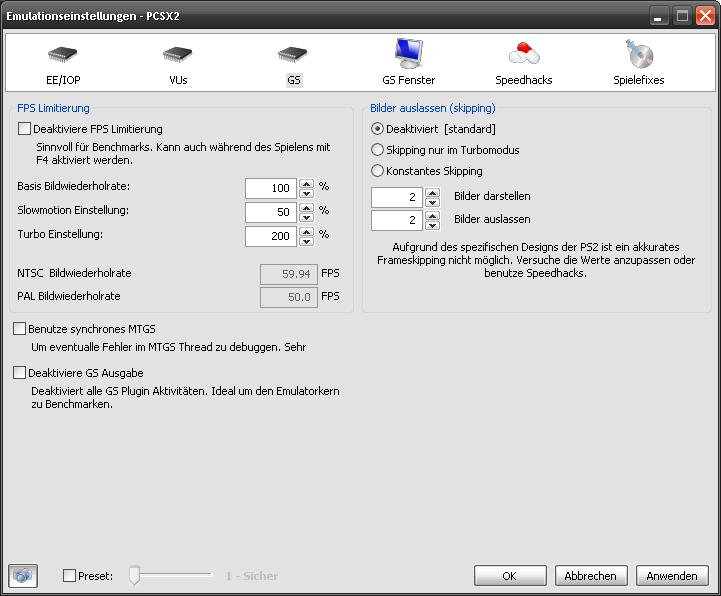 Klicke auf die Grafik für eine größere Ansicht  Name:pcsx2_CoreSettings_GS.png Hits:124 Größe:25,4 KB ID:102615