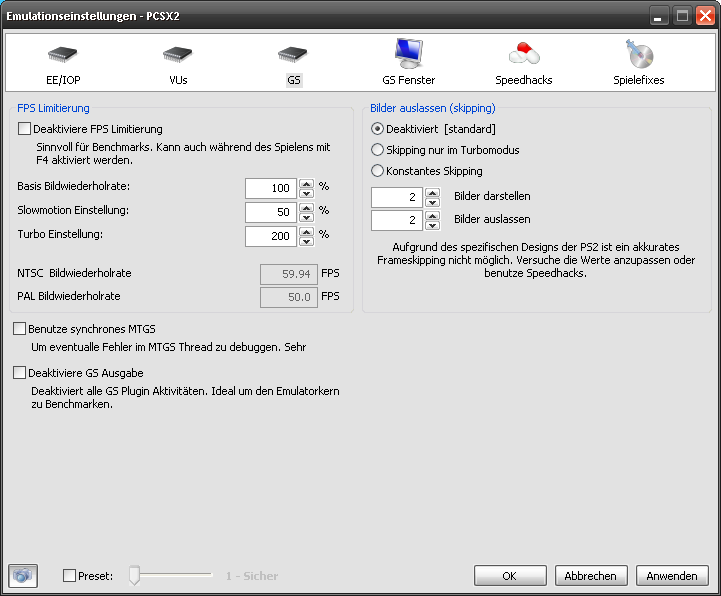 Klicke auf die Grafik für eine größere Ansicht  Name:pcsx2_CoreSettings_GS.png Hits:69 Größe:25,5 KB ID:102907