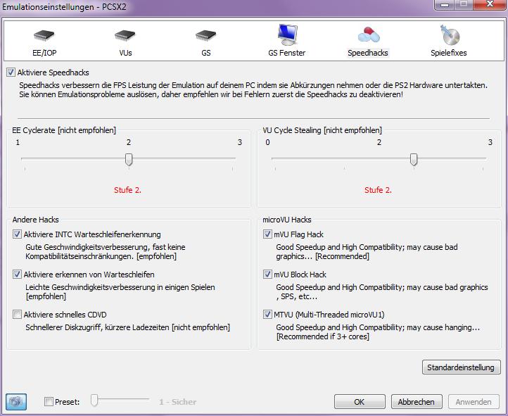 Klicke auf die Grafik für eine größere Ansicht  Name:pcsx2_CoreSettings_Speedhacks.png Hits:360 Größe:52,4 KB ID:102286